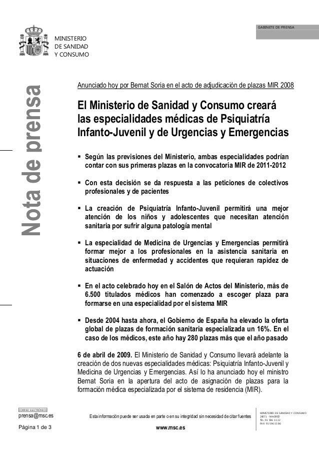 GABINETE DE PRENSA                      MINISTERIO                      DE SANIDAD                      Y CONSUMO         ...
