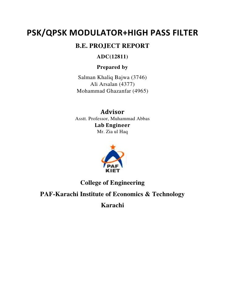 PSK/QPSK MODULATOR+HIGH PASS FILTER             B.E. PROJECT REPORT                      ADC(12811)                      P...