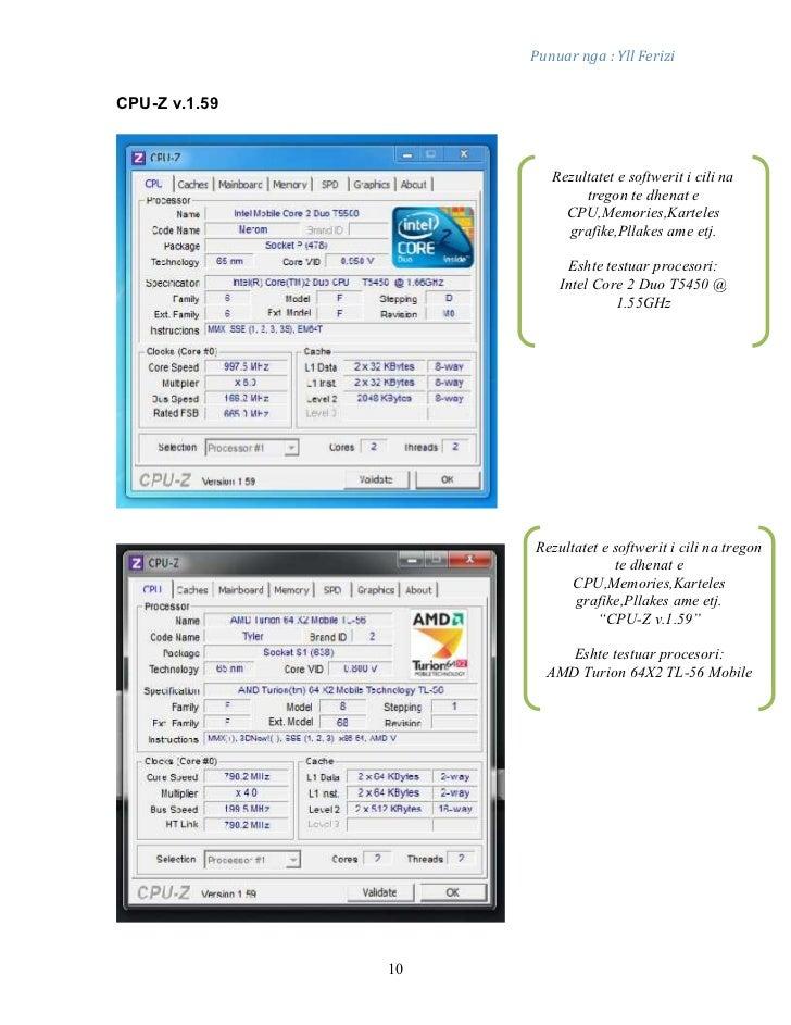 Punuar nga : Yll FeriziCPU-Z v.1.59                       Rezultatet e softwerit i cili na                            treg...