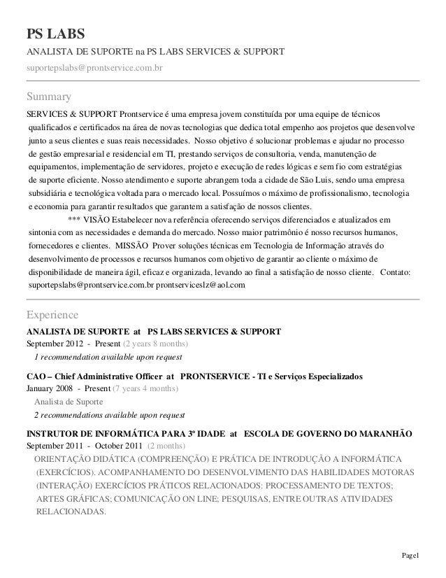 Page1 PS LABS ANALISTA DE SUPORTE na PS LABS SERVICES & SUPPORT suportepslabs@prontservice.com.br Summary SERVICES & SUPPO...