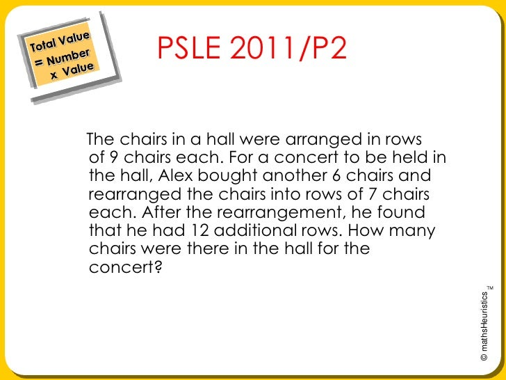 Total Value= Number     x  Value<br />   PSLE 2011/P2<br />Thechairs in a hall were arranged in rows of9 chairs each. Fo...