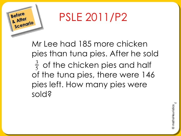 Before& After Scenario<br />    PSLE 2011/P2<br />Mr Lee had 185 more chicken pies than tuna pies. After he sold     <br /...