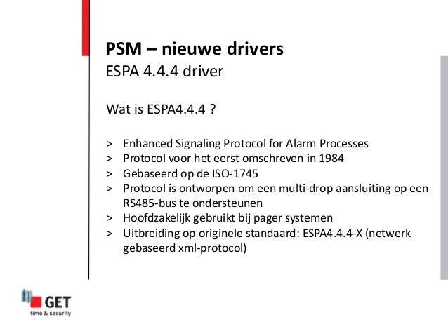 Wat is ESPA4.4.4 ? > Enhanced Signaling Protocol for Alarm Processes > Protocol voor het eerst omschreven in 1984 > Gebase...