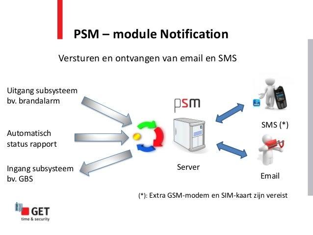 PSM – module Notification Versturen en ontvangen van email en SMS SMS (*) Email Server Uitgang subsysteem bv. brandalarm A...