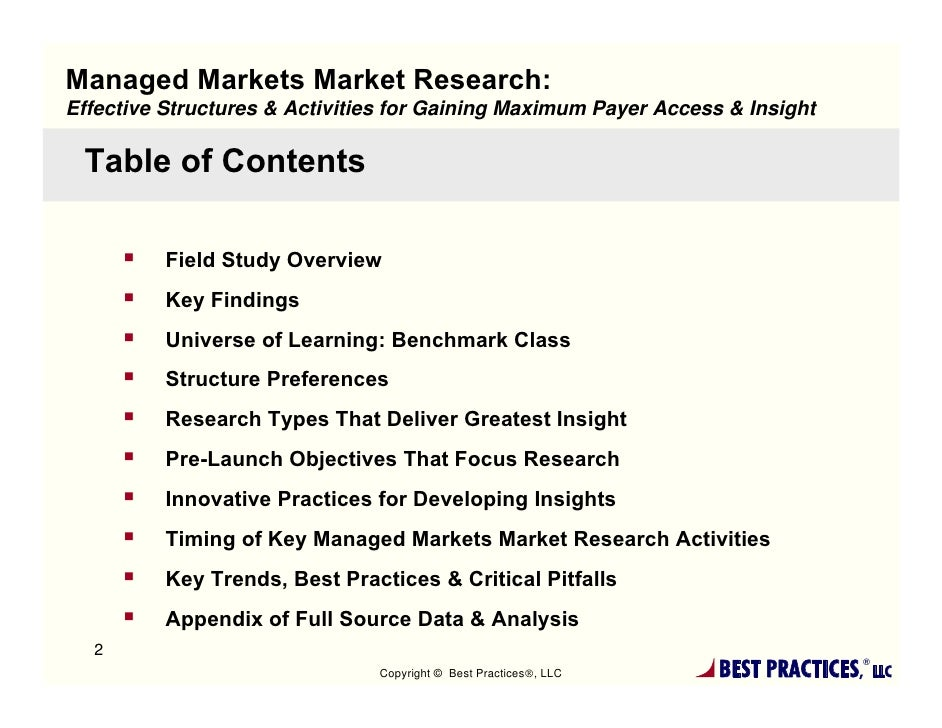 Managed Markets Market Research- Payer Access & Insight Report Summary