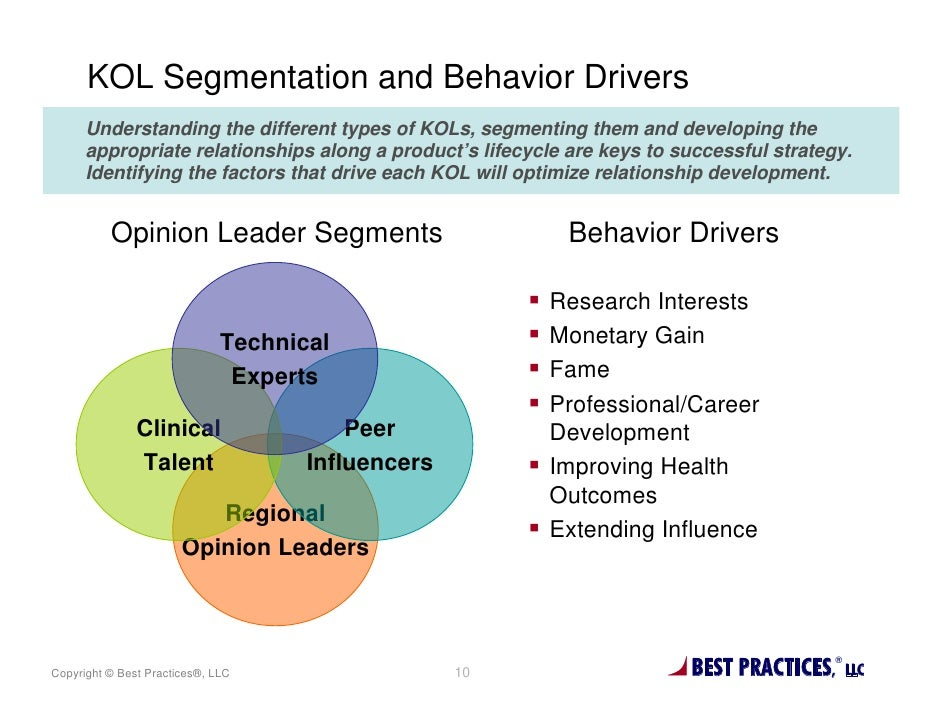 KOL Segmentation and Behavior Drivers      Understanding the different types of KOLs, segmenting them and developing the  ...
