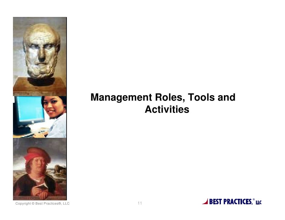 Management Roles, Tools and                                           ActivitiesCopyright © Best Practices®, LLC          ...