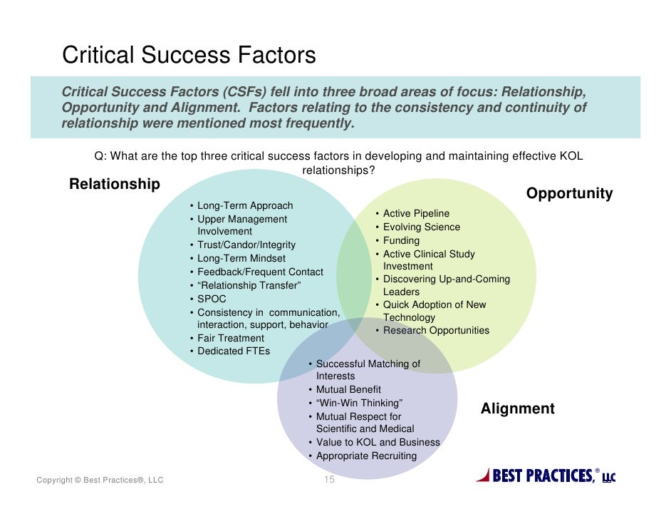 Critical Success Factors      Critical Success Factors (CSFs) fell into three broad areas of focus: Relationship,      Opp...