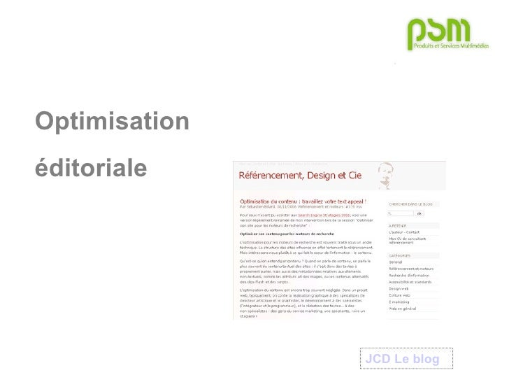 Optimisation  éditoriale JCD Le blog