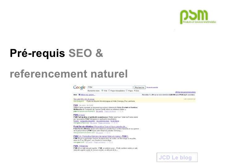 Pré-requis  SEO & referencement naturel JCD Le  blog