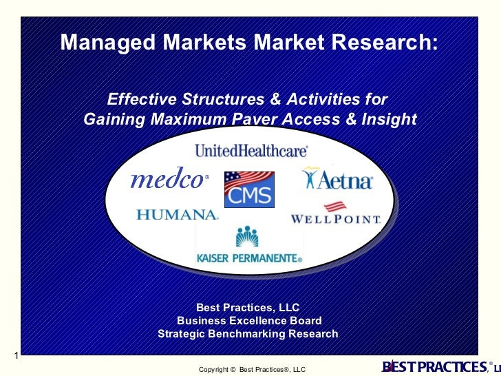 Best Practices, LLC  Business Excellence Board Strategic Benchmarking Research  Managed Markets Market Research:  Effectiv...