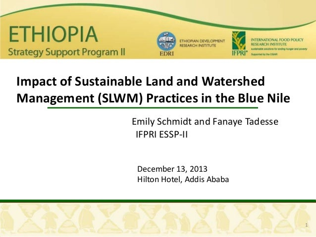 Impact of Sustainable Land and Watershed Management (SLWM) Practices in the Blue Nile Emily Schmidt and Fanaye Tadesse IFP...