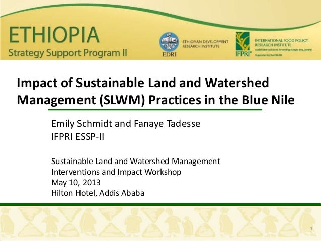1Impact of Sustainable Land and WatershedManagement (SLWM) Practices in the Blue NileEmily Schmidt and Fanaye TadesseIFPRI...