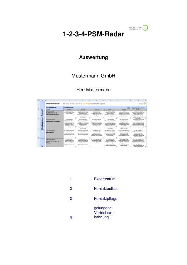 1 Expertentum 2 3 Kontaktpflege 4 gelungene Vertriebsan- bahnung Kontaktaufbau 1-2-3-4-PSM-Radar Herr Mustermann Datum Aus...