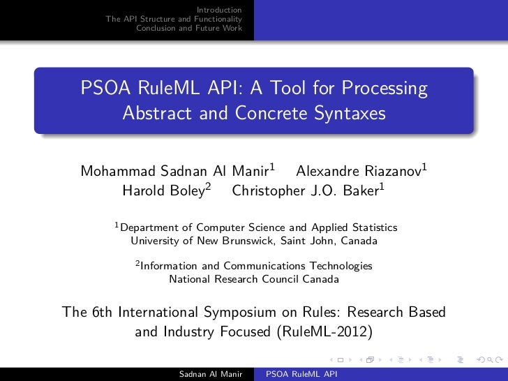 Introduction      The API Structure and Functionality            Conclusion and Future Work  PSOA RuleML API: A Tool for P...