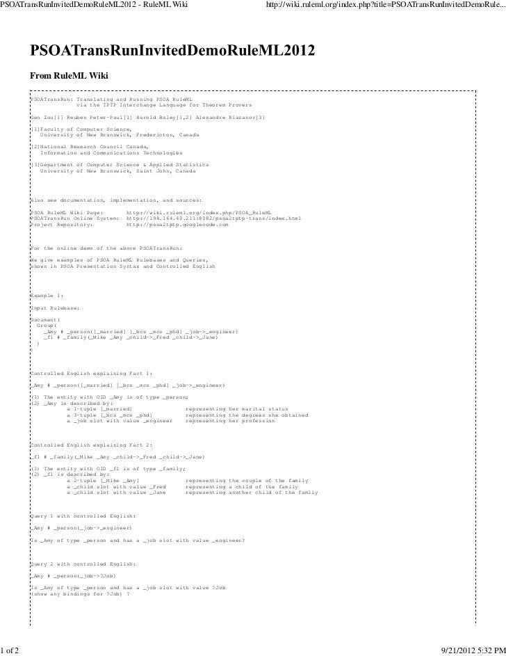 PSOATransRunInvitedDemoRuleML2012 - RuleML Wiki                                    http://wiki.ruleml.org/index.php?title=...