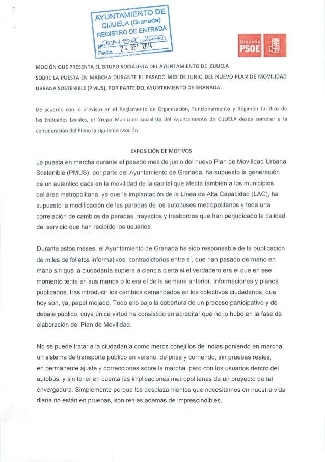 MOCIÓN QUE PRESENTA EL GRUPO SOCIALISTA DEL AYUNTAMIENTO DE CIJUELA SOBRE LA PUESTA EN MARCHA DURANTE EL PASADO MES DE JUN...