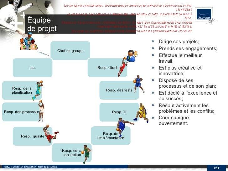 Équipe  de projet <ul><li>Dirige ses projets; </li></ul><ul><li>Prends ses engagements; </li></ul><ul><li>Effectue le meil...