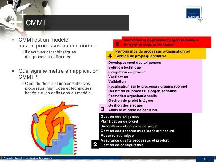 CMMI <ul><li>CMMI est un modèle  pas un processus ou une norme.  </li></ul><ul><ul><li>Il décrit les caractéristiques  des...