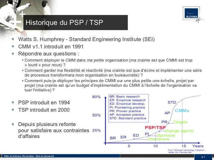 Historique du PSP / TSP <ul><li>Watts S. Humphrey - Standard Engineering Institute (SEI) </li></ul><ul><li>CMM v1.1 introd...
