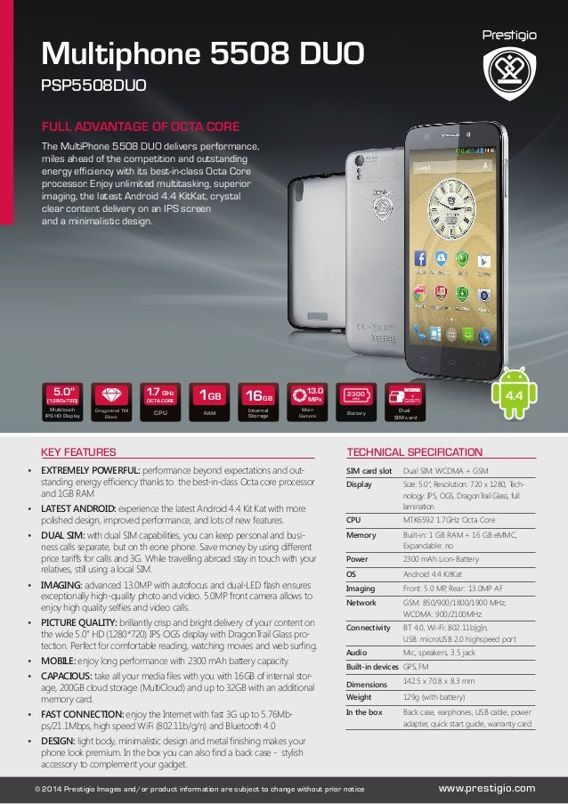 Multiphone 5508 DUO  PSP5508DUO  FULL ADVANTAGE OF OCTA CORE  The MultiPhone 5508 DUO delivers performance,  miles ahead o...