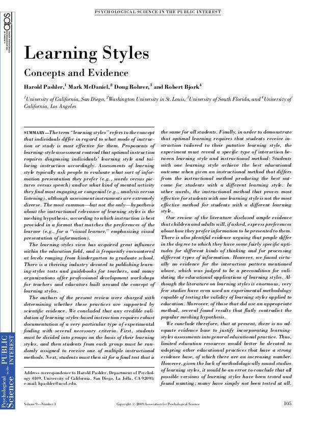 Learning Styles: Concepts and Evidence. Harold Pashler, Mark McDaniel, Doug Rohrer, and Robert Bjork Slide 3