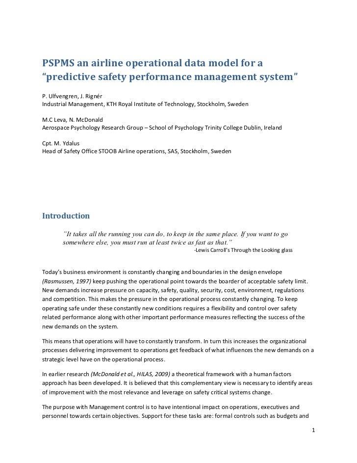 "PSPMS an airline operational data model for a""predictive safety performance management system""P. Ulfvengren, J. RignérIndu..."