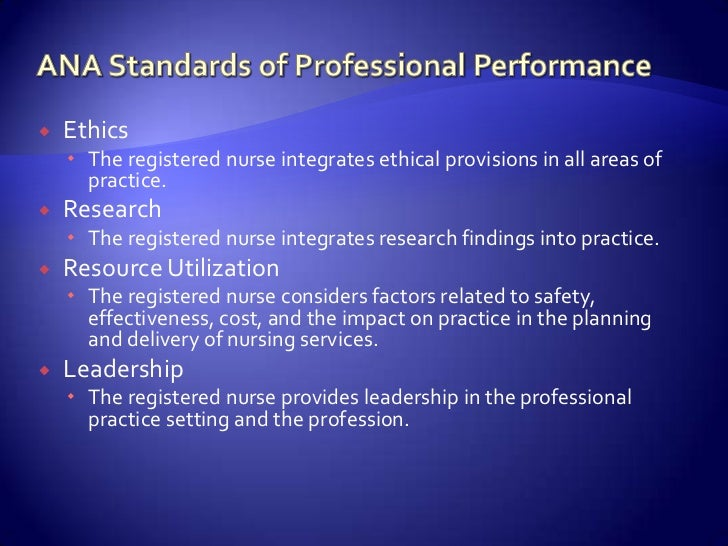 ana ethics and standards of nursing practice Adhering to the nurses' code is the profession's non-negotiable ethical standard  on the heels of a gallup survey reporting that nurses have.
