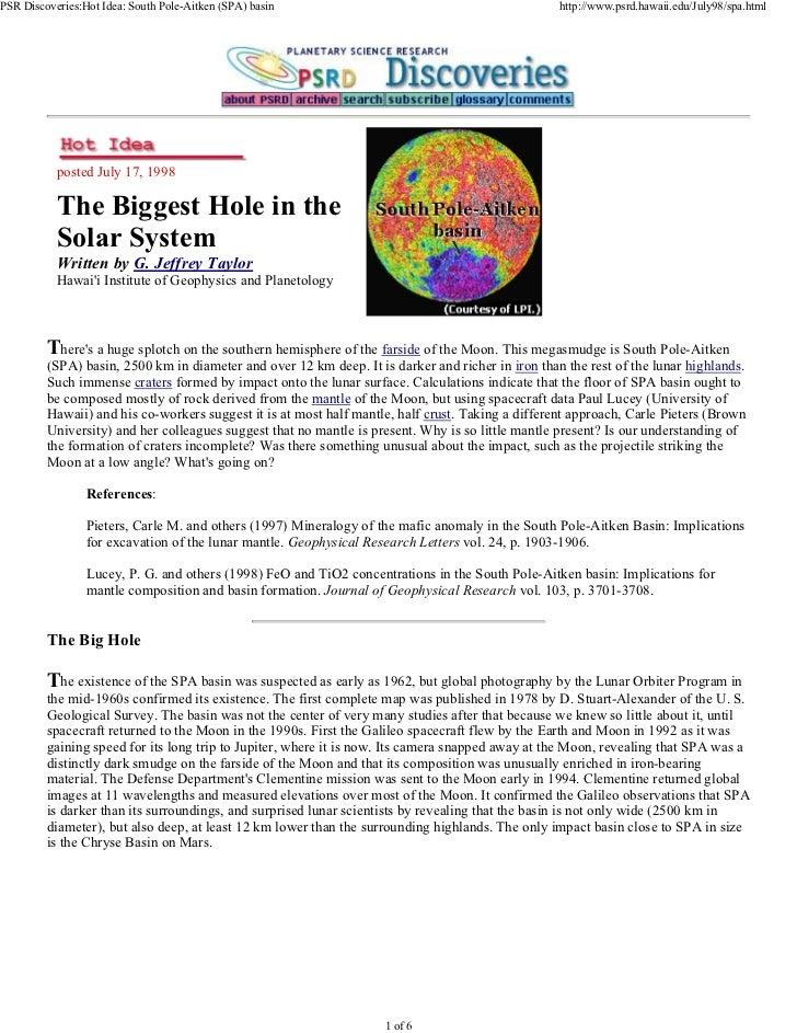 PSR Discoveries:Hot Idea: South Pole-Aitken (SPA) basin                                            http://www.psrd.hawaii....