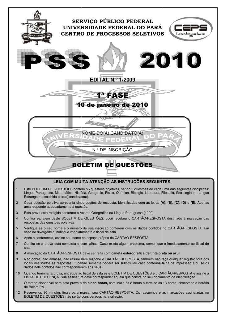 SERVIÇO PÚBLICO FEDERAL                               UNIVERSIDADE FEDERAL DO PARÁ                              CENTRO DE ...
