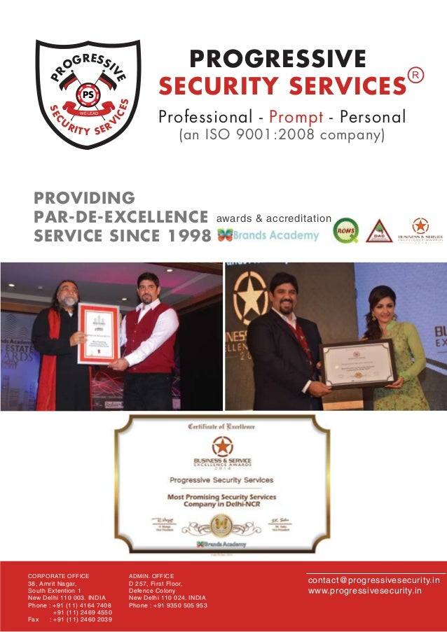 SEC U RITY SERV ICES PR OGRESSI VEWE LEAD PS PROGRESSIVE SECURITY SERVICES R Professional - Prompt - Personal (an ISO 9001...