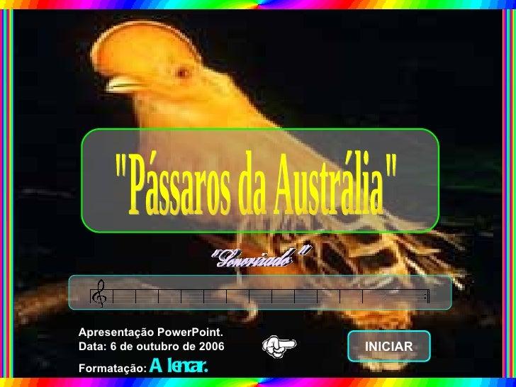 """""""Pássaros da Austrália"""" Apresentação PowerPoint. Data: 6 de outubro de 2006 Formatação:  Alencar. INICIAR"""