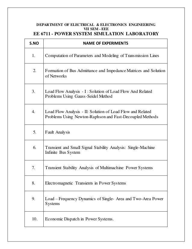 power system simulation laboratory manual rh slideshare net Gold Foil Experiment Simulation Cavendish Experiment Simulation