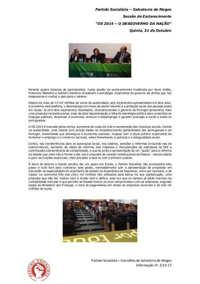 """Partido Socialista – Salvaterra de Magos Sessão de Esclarecimento """"OE 2014 – O DESGOVERNO DA NAÇÃO"""" Quinta, 31 de Outubro ..."""