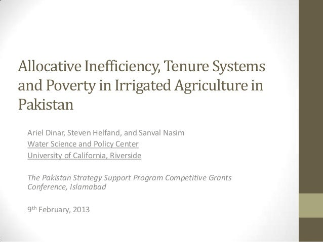 Allocative Inefficiency, Tenure Systemsand Poverty in Irrigated Agriculture inPakistan Ariel Dinar, Steven Helfand, and Sa...
