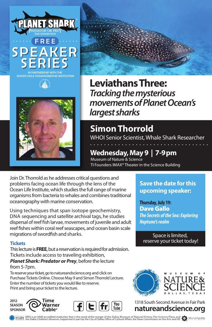 . . . . . . . F .R . . E . . . . . . .               . .E .SPEAKER SERIES  IN PARTNERSHIP WITH THE   WOODS HOLE OCEANOGRAP...