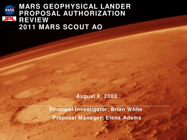 Mars Geophysical Lander Proposal Authorization Review