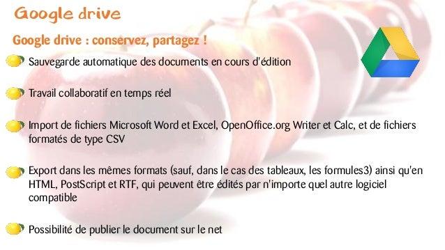 Google drive Google drive : conservez, partagez ! Sauvegarde automatique des documents en cours d'édition Travail collabor...