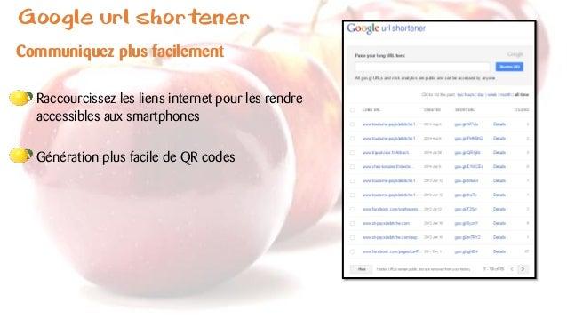 Google url shortener Communiquez plus facilement Raccourcissez les liens internet pour les rendre accessibles aux smartpho...