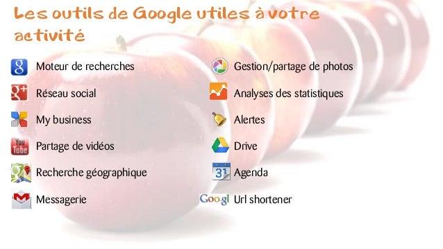 Les outils de Google utiles à votre activité Moteur de recherches Réseau social My business Partage de vidéos Recherche gé...