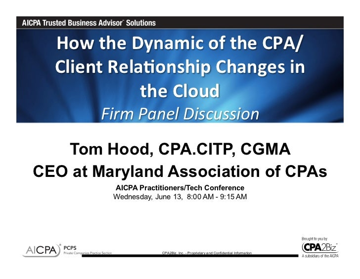 How the Dynamic of the CPA/  Client Rela6onship Changes in                  the Cloud           ...