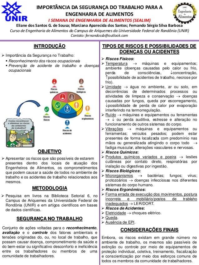 IMPORTÂNCIA DA SEGURANÇA DO TRABALHO PARA A ENGENHARIA DE ALIMENTOS I SEMANA DE ENGENHARIA DE ALIMENTOS (SEALIM) Eliane do...