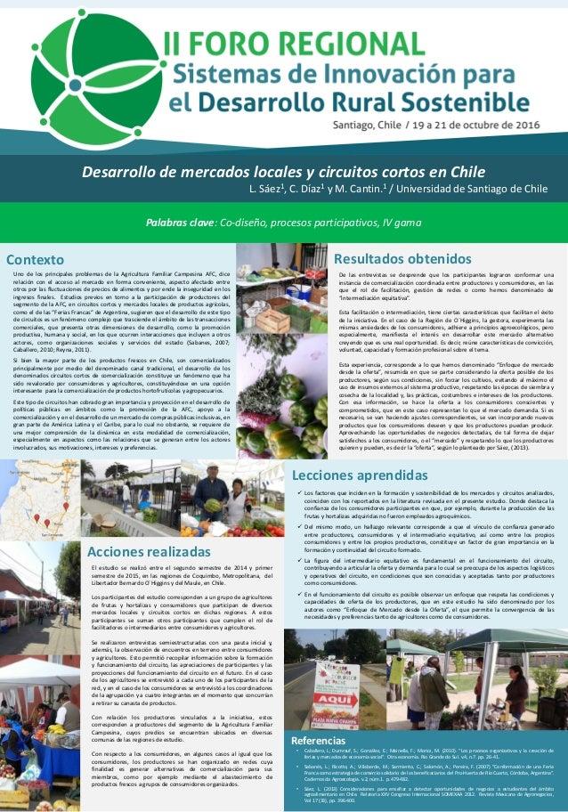 Desarrollo de mercados locales y circuitos cortos en Chile L. Sáez1, C. Díaz1 y M. Cantin.1 / Universidad de Santiago de C...