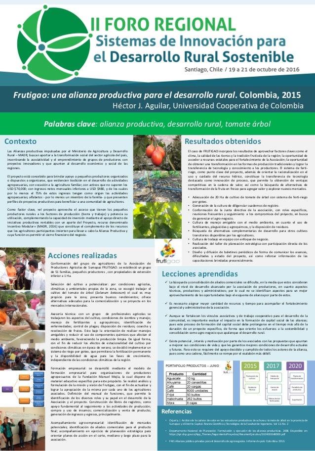 Frutigao: una alianza productiva para el desarrollo rural. Colombia, 2015 Héctor J. Aguilar, Universidad Cooperativa de Co...