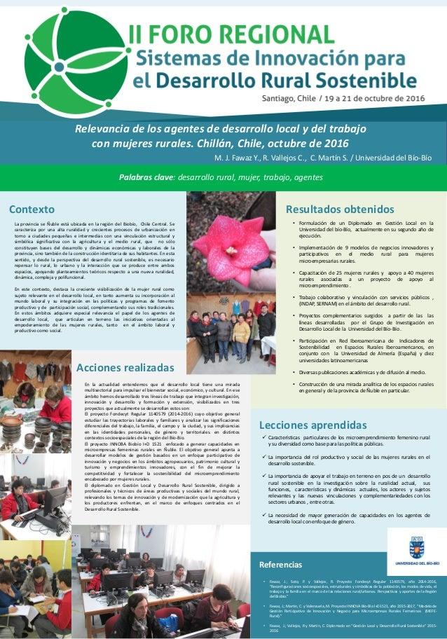 Fotos / Gráficos Relevancia de los agentes de desarrollo local y del trabajo con mujeres rurales. Chillán, Chile, octubre ...