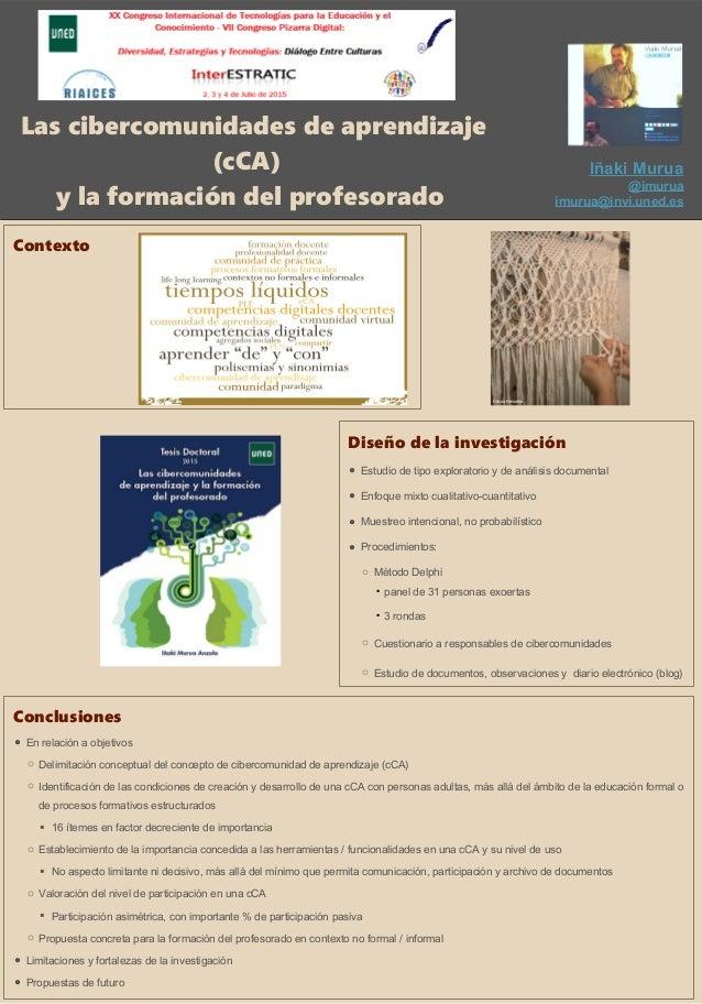 Las cibercomunidades de aprendizaje (cCA) y la formación del profesorado Contexto Diseño de la investigación ● Estudio de ...