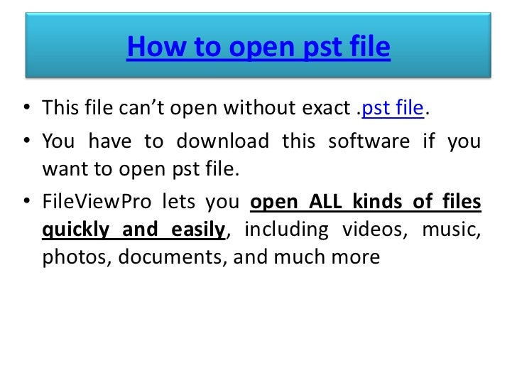 how to open pst file