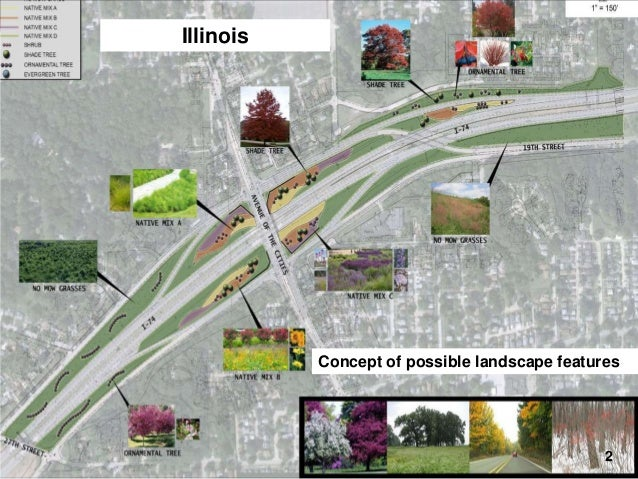 Illinois  I-74 Final Design – Landscaping  Concept of possible landscape features  2