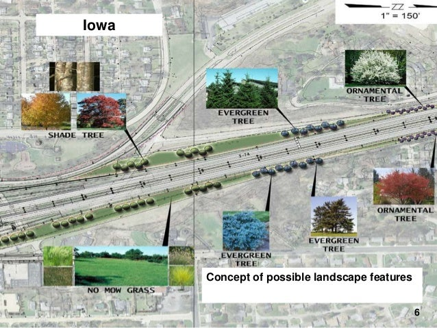 Iowa  I-74 Final Design – Landscaping  Concept of possible landscape features 6