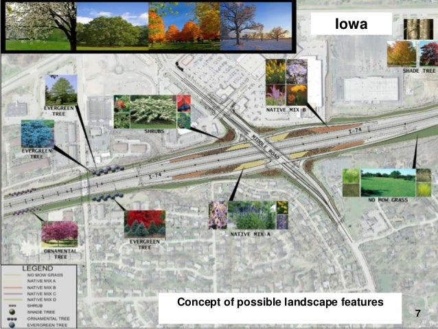 Iowa  I-74 Final Design – Landscaping  Concept of possible landscape features 7
